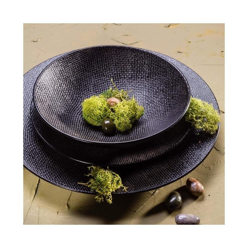achat vente assiette noire vesuvio table passion. Black Bedroom Furniture Sets. Home Design Ideas