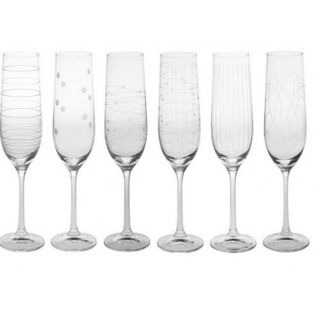 Coffret 6 flûtes à champagne Graphik, Table passion