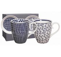 "Coffret 2 mugs N/B "" Le Bleu de Nimes"",Tokyo Design"