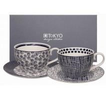 "Coffret 2 tasses déjeuner N/B "" Le Bleu de Nîmes "" ,Tokyo Design"