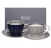 """Coffret 2 tasses déjeuner P/W """" Le Bleu de Nîmes """" ,Tokyo Design"""
