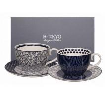 """Coffret 2 tasses déjeuner S/W """" Le Bleu de Nîmes """" ,Tokyo Design"""