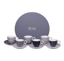 """Coffret 6 tasses café """" Le Bleu de Nîmes"""" , Tokyo Design"""