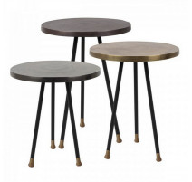Set de 3 tables d'appoint Alu/Antique, Zuiver