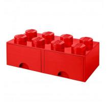 Boîte de rangement Brique 8 plots avec tiroir, Lego