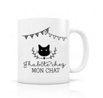 Mug J'habite chez mon chat, Créa Bisontine