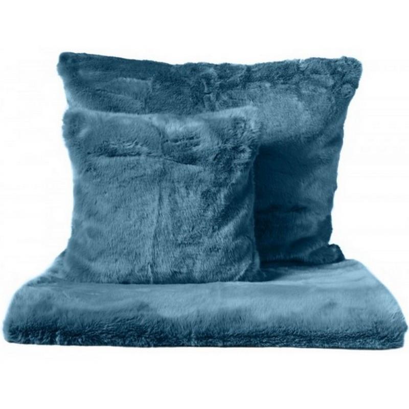 achat vente plaid fausse fourrure bleu coussin fausse. Black Bedroom Furniture Sets. Home Design Ideas