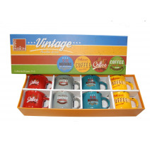 Coffret 8 tasses à café décor vintage, Table Passion