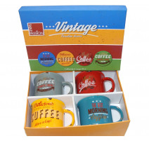 Coffret 4 mugs en porcelaine décor vintage, Table Passion