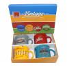 Coffret 4 mugs en porcelaine décor vintage, Table Passion