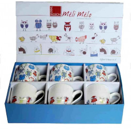 Coffret 6 tasses 23 cl Chouette, Table Passion