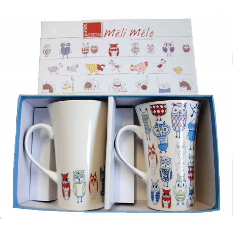 Coffret 2 mugs 55 cl Chouette, Table Passion