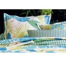 Taie d'oreiller Bali Bleu Canard, Blanc des Vosges