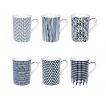Coffret 6 mugs Indigo, Table passion