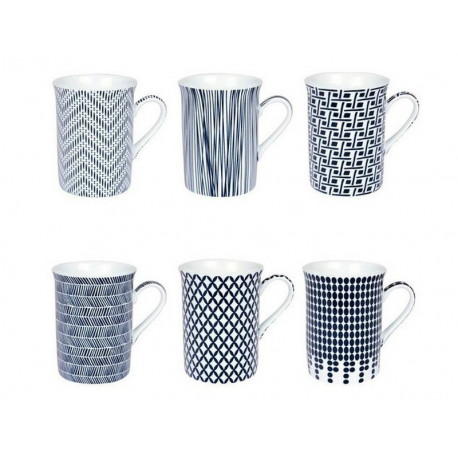 Coffret 6 mugs Indigo, Table passion