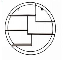 Etagère murale ronde métal noir, Zago