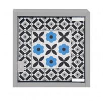 Armoire à clés Carreaux de ciment bleu, Derrière la porte