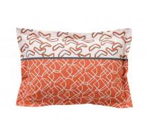 Taie d'oreiller Variations orange, Blanc des Vosges