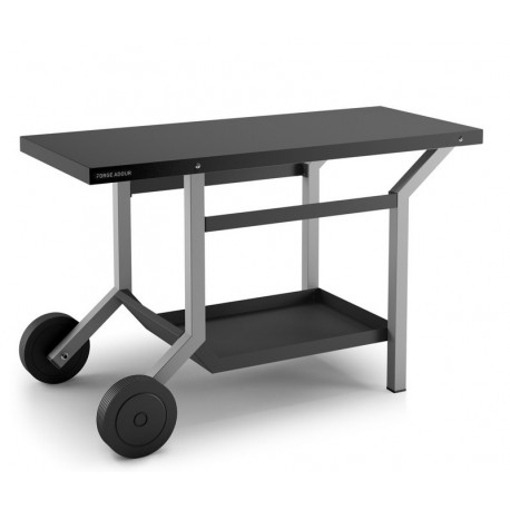 acheter table roulante en acier gris et noir pour plancha forge adour. Black Bedroom Furniture Sets. Home Design Ideas
