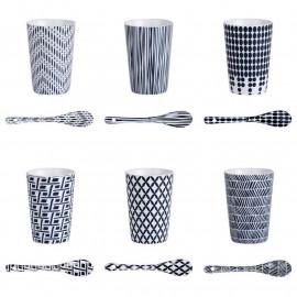 Coffret 6 gobelets et cuillères porcelaine Indigo, Table Passion