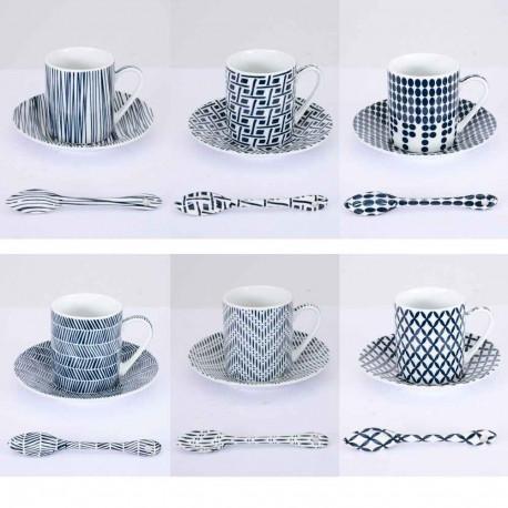 Coffret 6 tasses avec soucoupes et cuillères Indigo,Table Passion