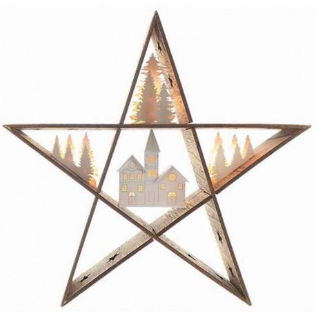 Étoile bois LED à piles, Blachère illumination