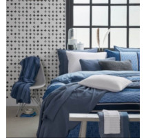 Housse de couette + 2 taies carrées style vintage bleu, Vandyck