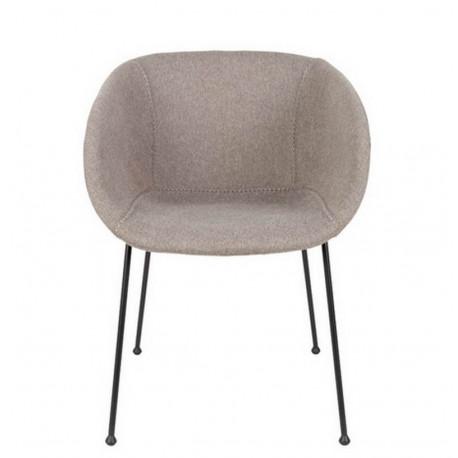 Chaise tissu gris clair Feston, Zuiver