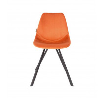 Chaise Francky orange en velours, Zuiver