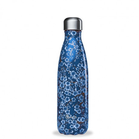 Bouteille 500 ml isotherme Flowers Bleu, Qwetch