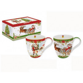 Coffret 2 mugs Christmas Vintage, Easy Life