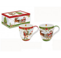 Coffret 2 mugs Chrismas Vintage, Easy Life