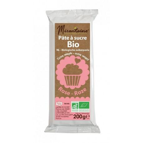 Pâte à sucre Bio Rose 200g, Mirontaine