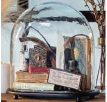 Cloche en verre Bella avec support bois, Affari