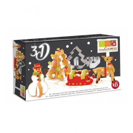Découpoirs inox 3D Noël, Scrapcooking