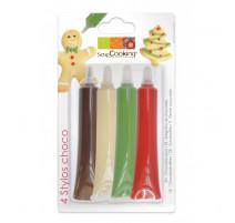 4 Stylos Chocolat Rouge/blanc/vert/chocolat, ScrapCooking