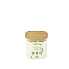 Boîte en verre couvercle bambou empilable, pebbly
