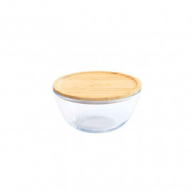Bol à mixer en verre couvercle bambou empilable, pebbly