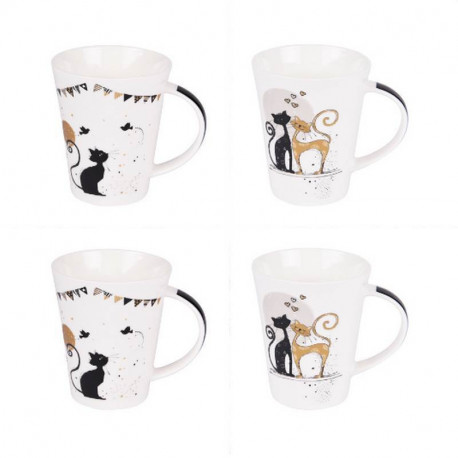 "Coffret 4 mugs ""une vie de chat"", Table passion"