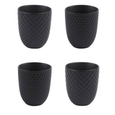 """Coffret 4 mugs """"Snow"""" noir, Table Passion"""