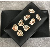 Plat rectangulaire noir Caviar, Bruno Evrard