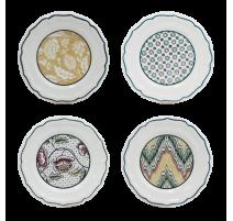 Coffret 4 assiettes 16.5 cm Dominoté, Gien