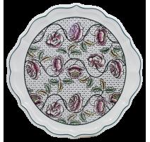 Plat à tarte roses Dominoté, Gien