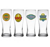 Coffret 4 verres à bière décorés, Table Passion