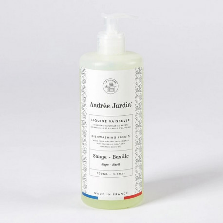 Liquide vaisselle Sauge Basilic 500 mL, Andrée Jardin