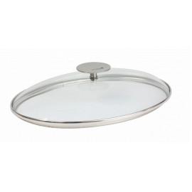 Couvercle ovale en verre 30cm, platine, Cristel