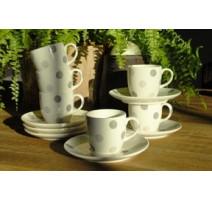 Coffret 6 petites tasses avec soucoupe moddy gris