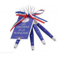 """Coffret 4 fourchettes à cocktail bleu """" Les Laguiole à la Française"""", Jean Dubost Pradel"""