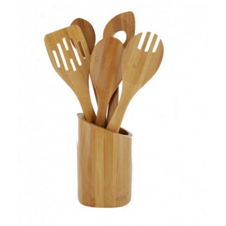 Set 5 ustensiles bambou