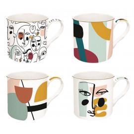 Set de 4 mugs Modernism, Easy Life